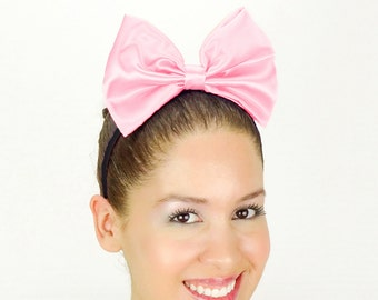 Daisy Duck Headband Light Pink Minnie Mouse Halloween Costume Daisy Duck bow Daisy Duck Costume Outfit Ears Satin Disney Headband Daisy Bow
