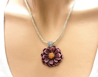 Purple flower (length of custom jewelry) pendant necklace