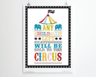 Circus Print, Circus Wall Art. Children's Fun Poster. Digital download
