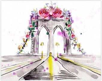 Brooklyn Bridge/ Art Print/ Instant Download/ Wall Art/ Room Decor/ Nursery Art Print