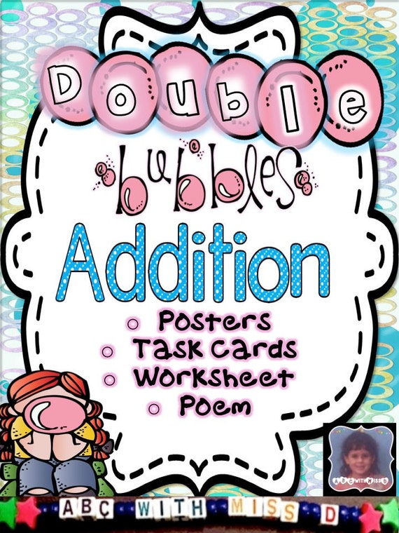 Addition Doubles-Posters Math Poem Worksheet and Flashcards