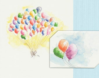 Instant Download Birthday Card, Rainbow of Balloons, Colorful Balloon Bundle