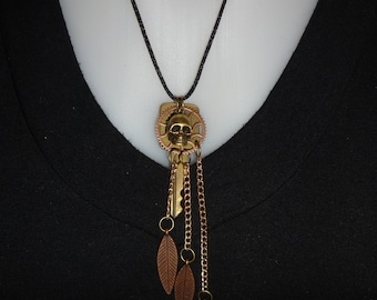 Skull, Key, Feather Necklace