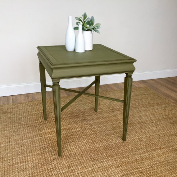Antique Green Side Table hand-painted and Distressed Furniture for a Living room or Bedroom Square Sofa End Table