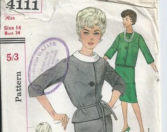 Vintage Pattern - 1960s Pattern - Suit and Blouse - Simplicity Pattern 4111 - 1961 - Bust 86 cm
