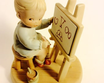 """Memories of Yesterday Collectible Figurines  """"Five Years of Memories, 1992 Enesco, Mabel Lucie Attwell Ltd., #525669 Little Girl Painting"""