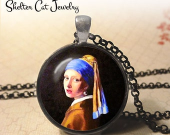 "Girl With A Pearl Earring Necklace - Johannes Vermeer - 1-1/4"" Circle Pendant or Key Ring - Photo Art Jewelry - Famous Painting Art Gift"
