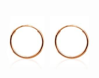 14K Rose Gold Small Plain Endless Round Hoop Earrings - 12 x 1mm - Minimalist Earrings - Gift for Her - Second Piercings - Small Earrings