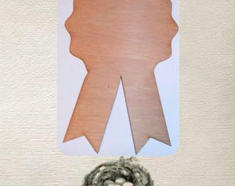 Ribbon, Award, Blue Ribbon ( Small) Wood Cut Out - Laser Cut