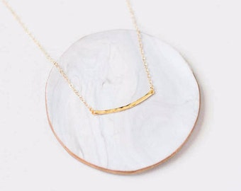 Gold Bar Necklace-Hammered Bar Necklace-Bar Necklace-Gold Necklace Chain-Gold Layering Necklace-Simple Bar Gold Necklace-Minimalist Jewelry