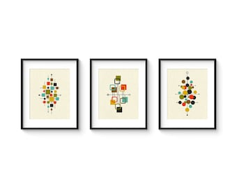 Classic Mid Century Prints, Abstract Modern Giclée Prints, Print Set