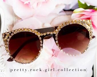Oversize Cutout  Round Cateye Gold Sunglasses, cutout sunglasses, rhinestone sunglasses, gold sunglasses, gold stunners, fashion sunglasses