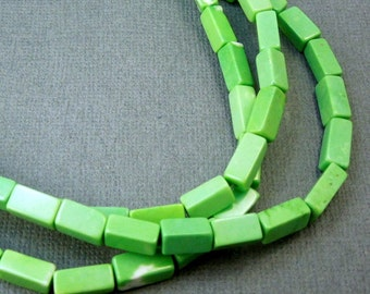 15% off Howlite Beads - Green Howlite 12mm x 5mm Rectangle Beads-- 1 Full STRAND (S41B6-03)