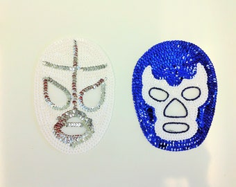 Lucha Libre Sequin Patch El Santo Blue Demon Sequin Applique Sew-on Patch Mexican Wrestling Luchador