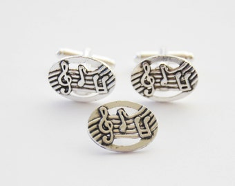Music Cufflinks, Music Tie Tack Set, Music Gift Set, Musician Gifts, Musician Cufflinks and Tie Pin, Treble Clef Cufflinks, Music Cuff Links