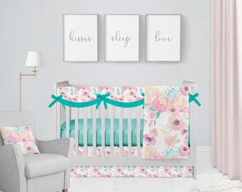 Blush Pool Floral Crib Bedding Set. Baby Bedding. Floral Baby Bedding. Baby Shower Gift. Watercolor Floral Bedding.