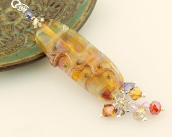 Lampwork Glass Bead Pendant, Topaz, Sterling Silver with Swarovski Crystals