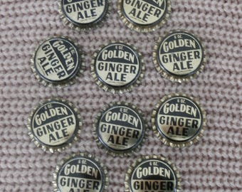 10 Golden Ginger Ale Soda Bottle Caps for crafting or collecting, Unused