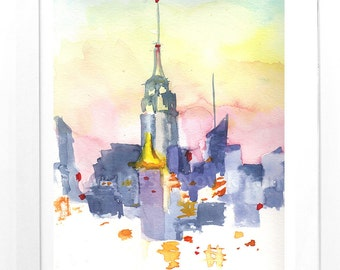 New York print watercolor NYC skyline sunset hand signed original print of watercolor painting colorful sky cityscape brooklyn artist NY art