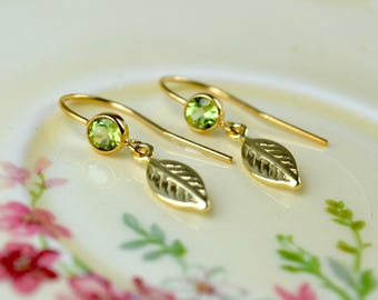 Peridot & Gold Leaf Earrings, Dainty Gold Earrings, Leaf Charm Earrings, Peridot Jewelry, Gold Filled Earrings, August Birthstone, Wife Gift