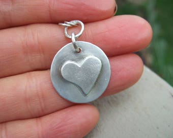 Hand Forged Sterling Silver Heart Pendant Necklace, Simple, Everyday Jewelry