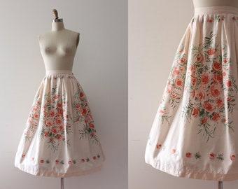 vintage 1950s skirt // 50s cotton floral border print skirt