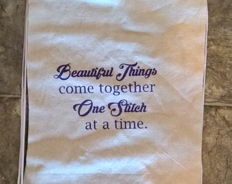 Beautiful Things Come Together One Stitch at a Time - Drawstring Bag