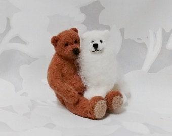 Teddy Bear and Samoyed Puppy