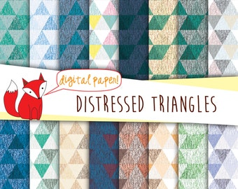 Triangle Digital Paper ~ Distressed Geometric Triangle Prints ~ Digital Scrapbooking ~ Digital Backgrounds ~