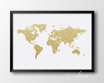 World map print, Gold decor, Gold print, Prinatble world map, Gold World map, Home decor, Digital print 141