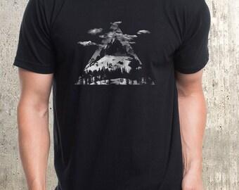 Men's T-Shirt - Mountains Clouds Triangles - Screen Printed Men's T-Shirt