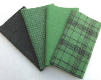 """Hand Dyed Felted Wool, PESTO , Four 6.5"""" x 16"""" pieces in Deep, Leafy Greens"""