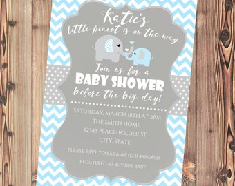 Baby Shower Elephant Invite, Baby Shower Elephant Invitation, Gray and Blue Chevron - Printable File