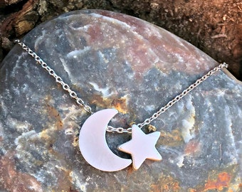 Dainty minimalist moon and star necklace   Celestial necklace   Love you to the moon and back