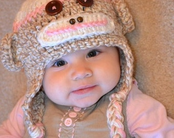 Girl Sock Monkey Hat with Flower and Top Pom Pom - Pink - Size Newborn to Adult