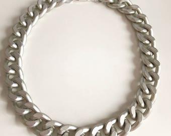 Ultra bold: Chunky Matte Silver Necklace, Chunky jewelry