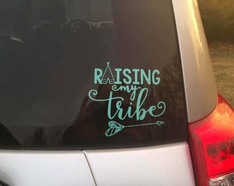 Custom Color Car Vinyl Decal | Raising My Tribe Car Decal | Gift For Mom | Family Car Decal | Car Decal For Parents