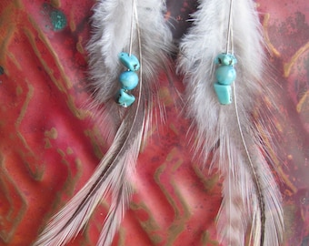 Long Feathers with Turquoise Stone Earrings
