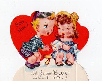 Vintage Kids Crying Valentine | Greeting Card | Valentine's Day, Valentines, Romance, Hearts, Girlfriend, Boyfriend | Paper Ephemera