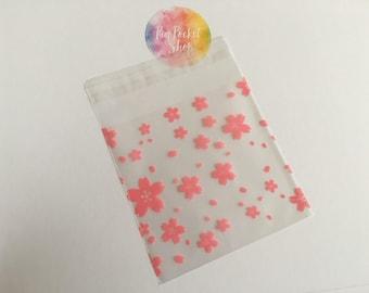 Cherry Blossom Transparent Cello bags x10