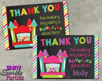 BOUNCE HOUSE THANK You Card - Bounce House Thank You Note - Bounce House Card - Bounce House Birthday Thank You Card - chalkboard thanks