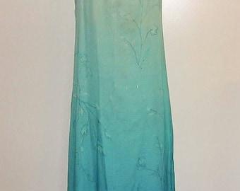 FLORAL SILK DRESS / Turquoise Blue / Maxi / Long Sundress / Vintage / Sleeveless / 8 Petite / Shift / Lined