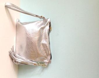 Silver leather clutch, wristlet purse, silver clutch bag