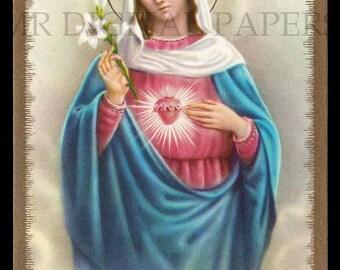 Mary Holy Prayer Card / Virgin Holy Card / Sacred Heart Prayer Card / 3 sizes/ Digital Download/ Holy Card Ephemera / Virgin Mary Card