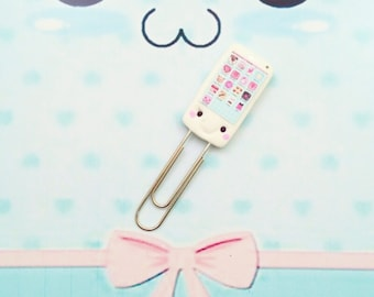 papers clip kawaii phone polymer clay