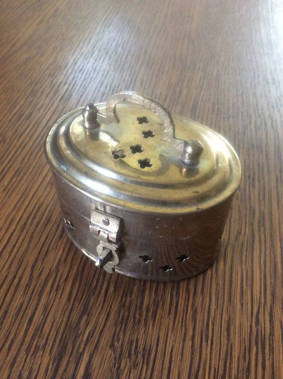 Ancient Chinese brass cricket  cage, small brass cricket cage, Chinese decor, brass decor, cricket  cage for singing or fighting