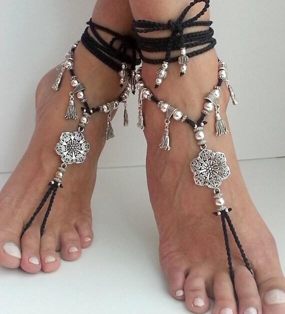 Bridal Shoes Boho: Flower Barefoot Sandals Boho Wedding Shoes Belly Dance Jewelry