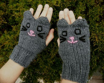 Knit Grey Cat Fingerless Gloves - Dark Grey Cat Gloves - Hand Knit Vegan Fingerless Gloves Vegan Animal Gloves Knit Animal Fingerless Gloves