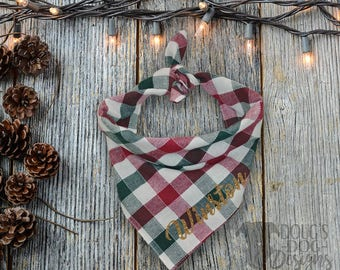 Red and Green Plaid Christmas Dog Bandana Personalized