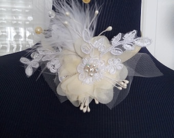 Pretty cream colored velvet Ribbon Choker, topped with a raised silk flower on tulle
